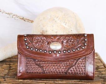 Vintage 80s Tooled Leather Wallet | Southwestern Tooled Leather Wallet