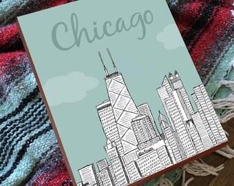 Chicago Art - Chicago Wall Art - Chicago Skyline - Chicago Print - Chicago Gifts
