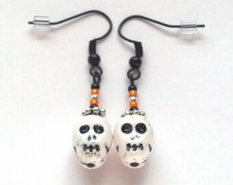 Glass White Skull and Bead Earrings - Halloween Earrings - Day of the Dead Earrings - Skull Earrings - Halloween Jewelry - Skull Jewelry