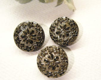 """Antique Victorian Glass FLOWERS Buttons, Set of 3, Silver Luster, 5/8"""", ANIMAL CHARITY Donation"""