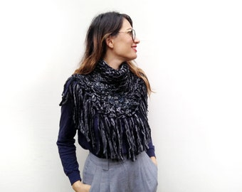 Black Chunky Wool Poncho, Chunky Scarf, Beaded Neckwarmer, Fringe Cowl, Gift Idea, Winter Accessory, Unique Scarf, Black Scarf, Gift for Her