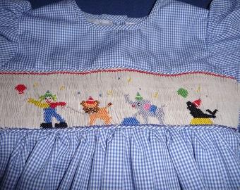 Hand smocked circus dress