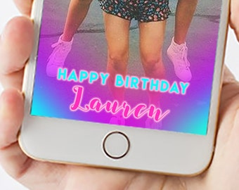 Blue and Pink Birthday Snapchat Filter 1047