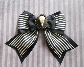Gothic Lolita hair bow Bird skull cameo stripe bow clip