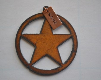 TEXAS STAR made of Rustic Rusty Rusted Recycled Metal Custom PERSONALIZED Western Texas Star Ornament or Magnet
