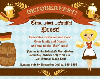 Personalized German Oktoberfest Invitation Many Designs Printable DIY