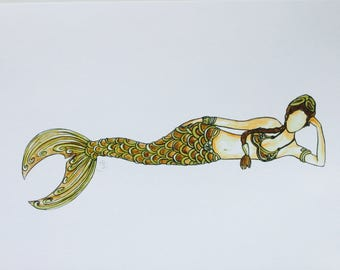 Quality print of original watercolour & pen illustration Princess Leia Mermaid slave Leia Star Wars Carrie Fisher