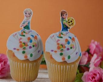 Frozen cupcake toppers, Frozen cupcake picks, Frozen birthday themed,Princess birthday themed