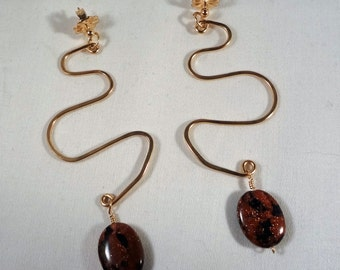 Or de Goldstone, Dangle, rempli, serpent Earrings(LVE63)