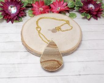 Jasper Slab Necklace, Gemstone Necklace - Teardrop Necklace