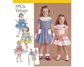 Simplicity Pattern 8062 Vintage 1950s Dress for Toddler and Child Sizes 4 5 6 7 8