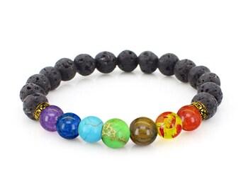 7 Chakra Bracelet - Oil Diffuser Bracelet - Chakra Balancing - Yoga Energy Bracelet - Mala Beads Jewelry - Lava Bracelet