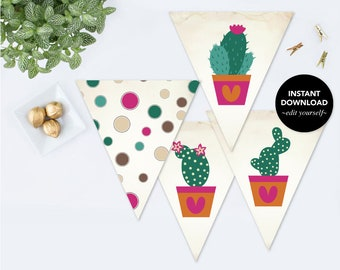 CACTUS PARTY DECORATIONS, diy Printable Banner, Printable Cinco de Mayo, Instant Download, Baby Shower Decor, Bachelorette Party Decorations