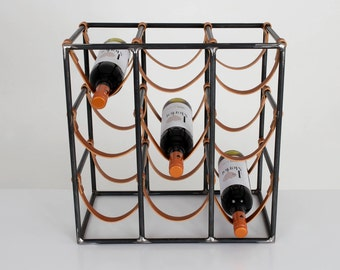 9 Bottle Metal and Leather Rack