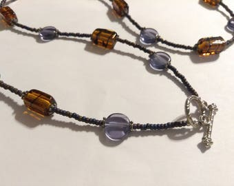 Purple and Brown Beaded Necklace
