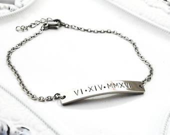 Bar bracelet, popular bar bracelet with Roman numeral date, bar jewelry, stainless steel bar bracelet,  dainty bracelet,  date bracelet