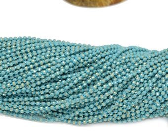 Brass 1.5 mm turquoise faceted ball chain