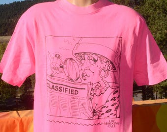vintage 80s t-shirt MORNING CALL newspaper neon fluorescent hot pink tee Medium Large 90s bright