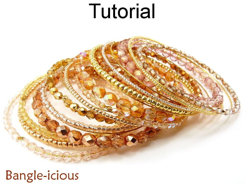Beading Pattern Tutorial - Beaded Bangle Bracelet - Memory Wire ...