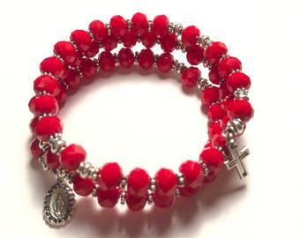 Red Rosary Bracelet Wrap,Rosary Bracelet ,5 Decade Rosary Bracelet
