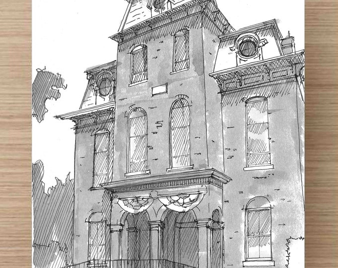 Pen and Ink and Watercolor Painting of Courthouse in Salem, Missouri - Architecture, History, County Seat, Drawing, Art