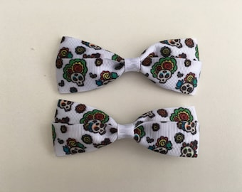 Super Cute Day of the Dead Skulls Hair Clips