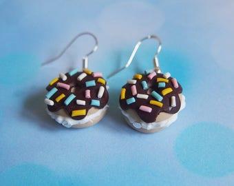 Chocolate Doughnut Earrings ( polymer clay food earrings donut earrings miniature food dangle earrings split donut earrings kawaii earrings)
