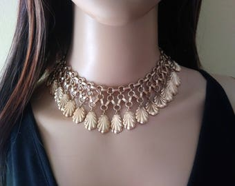 """Vintage Necklace Choker Gold Tone, costume jewelry filigree leaves 14 to 16"""" inches long with beautiful details"""