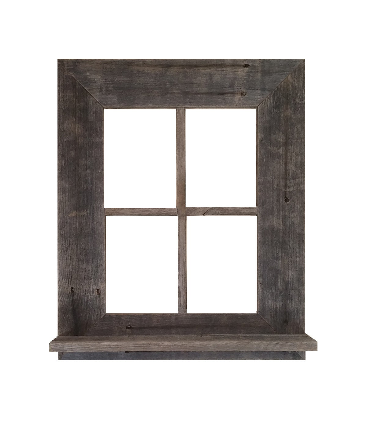 Rustic Barn Wood Window Frame With Shelf Amp Key Holder
