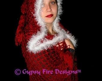 Crimson Moonlight Renaissance Medieval Hooded Shawl Crochet Pattern