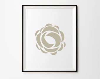 Rose, 5 x 7 in, 8 x 10 in, 11 x 14 in, Beige print, Flower Wall Art, Printable Art, Digital Print, Digital Download, Instant Download