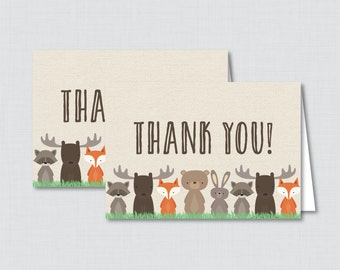 Printable Woodland Thank You Card - Printable Instant Download - Woodland Baby Shower Thank You Card, Burlap, Fox, Moose, Bear - 0010