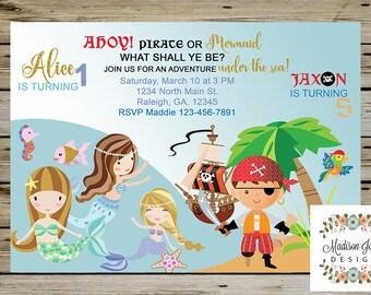 Pirates and Mermaids birthday invitation, Pirate Birthday Mermaid Birthday, PIRATES & MERMAIDS BIRTHDAY Invite, Customized Digital Printable