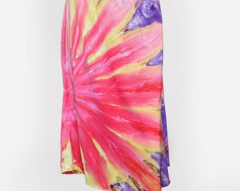 Tie Dye Skirt - Flower Skirt - Pink Yellow Purple Skirt - Colorful Cotton Skirt - Size Small