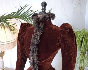 1891 Ostrich Feather Trimmed Jacket, antique jacket, Victoria  Jacket