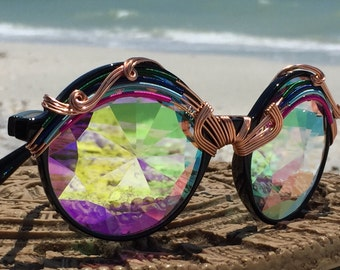 Wire Wrapped <> DiFFRaCTioN <> SPUNGLASSES <> Unisex <> Kaleidoscope Fractal Sunglasses Eyewear <> Every Pair is a piece of art