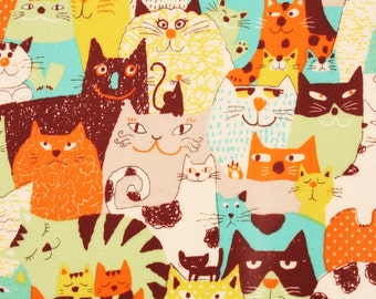 Laminated Oxford Cotton Fabric Cats printed Fabric made in Korea by the Yard