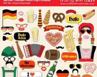 Germany Theme Party Photo Booth Prop, Deutschland Theme Party Photo Booth Prop, Octoberfest Party Printable