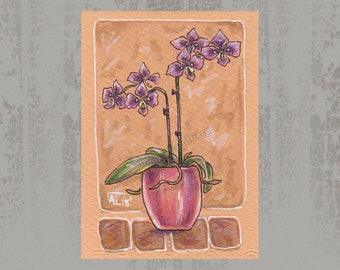 Orchid flower creature - Original ACEO, Marker illustration