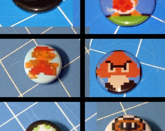 Set of 6 Mario Badges - 1 Inch, Stickers, Tattoos, Embroidered Patch, Magnets