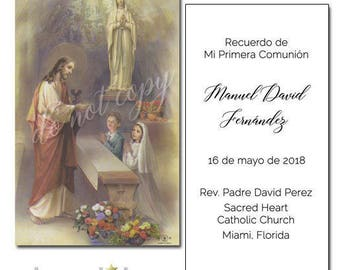 First Communion Remembrance Cards, Traditional Classic First Communion Remembrance Cards in SPANISH, Boys or Girls, Personalized, Sets of 8