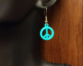 Hypoallergenic Drop Earrings Nickle-Free Rhodium Plated Turquoise Peace Sign Charm