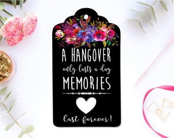 Black Gift Tags Wedding Favour Engagement Birthday bomboniere Hangover Tags