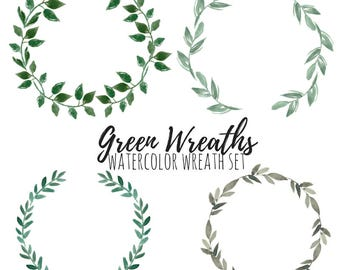 Wreath Clip Art - Floral Wreath Clip Art - Watercolor clip art - wedding clip art - Commercial Use.
