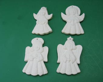 12 ceramic angels ornaments single sided 4 different ready to paint...