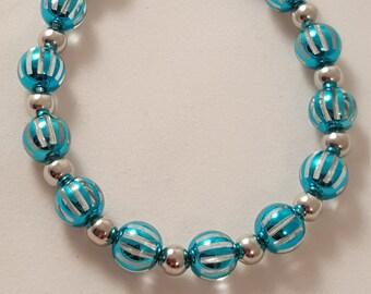 Blue Stripe Acrylic Bead Bracelet - Blue Candy Stripe Bracelet - Candy Stripe Bracelet - Blue Bracelet - Women's Bracelet - Blue - Bracelet
