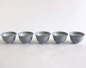 Set of 5 Striped Porcelain Bowls