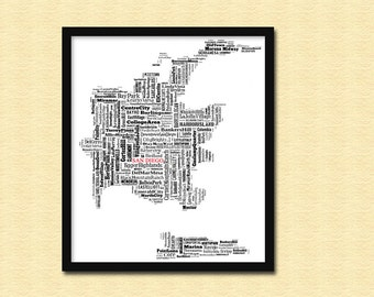 San Diego  Map Typography Map Poster Print