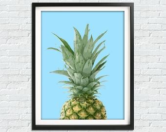 Pineapple Print, Fruit Poster, Tropical Print, Art Print, Printable Art, Tropical Decor, Tropical Fruit Print, Kitchen Decor, Wall Art Print