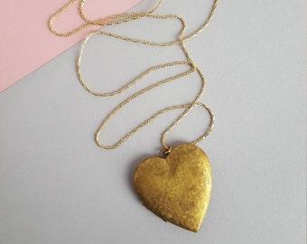 Heart locket vintage brass long necklace